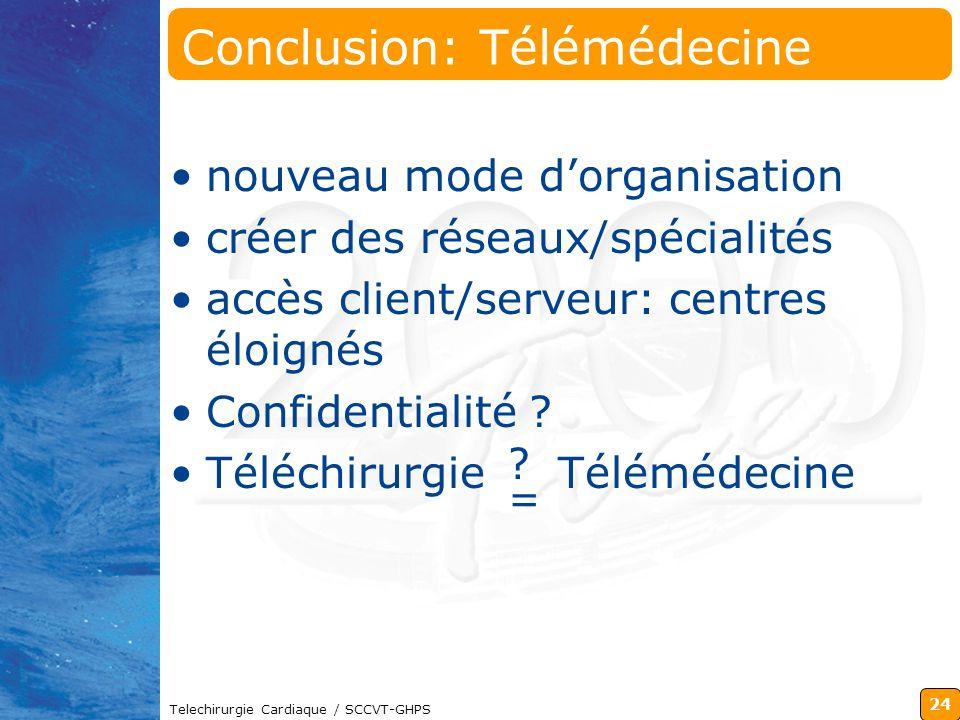 24 Telechirurgie Cardiaque / SCCVT-GHPS ?=?= Conclusion: Télémédecine nouveau mode dorganisation créer des réseaux/spécialités accès client/serveur: c
