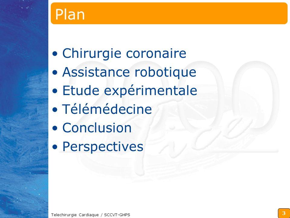 3 Telechirurgie Cardiaque / SCCVT-GHPS Plan Chirurgie coronaire Assistance robotique Etude expérimentale Télémédecine Conclusion Perspectives