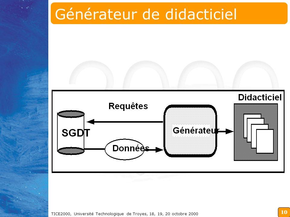 10 TICE2000, Université Technologique de Troyes, 18, 19, 20 octobre 2000 Générateur de didacticiel