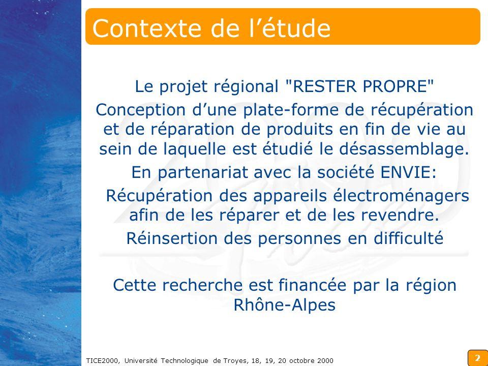 2 TICE2000, Université Technologique de Troyes, 18, 19, 20 octobre 2000 Contexte de létude Le projet régional RESTER PROPRE Conception dune plate-forme de récupération et de réparation de produits en fin de vie au sein de laquelle est étudié le désassemblage.