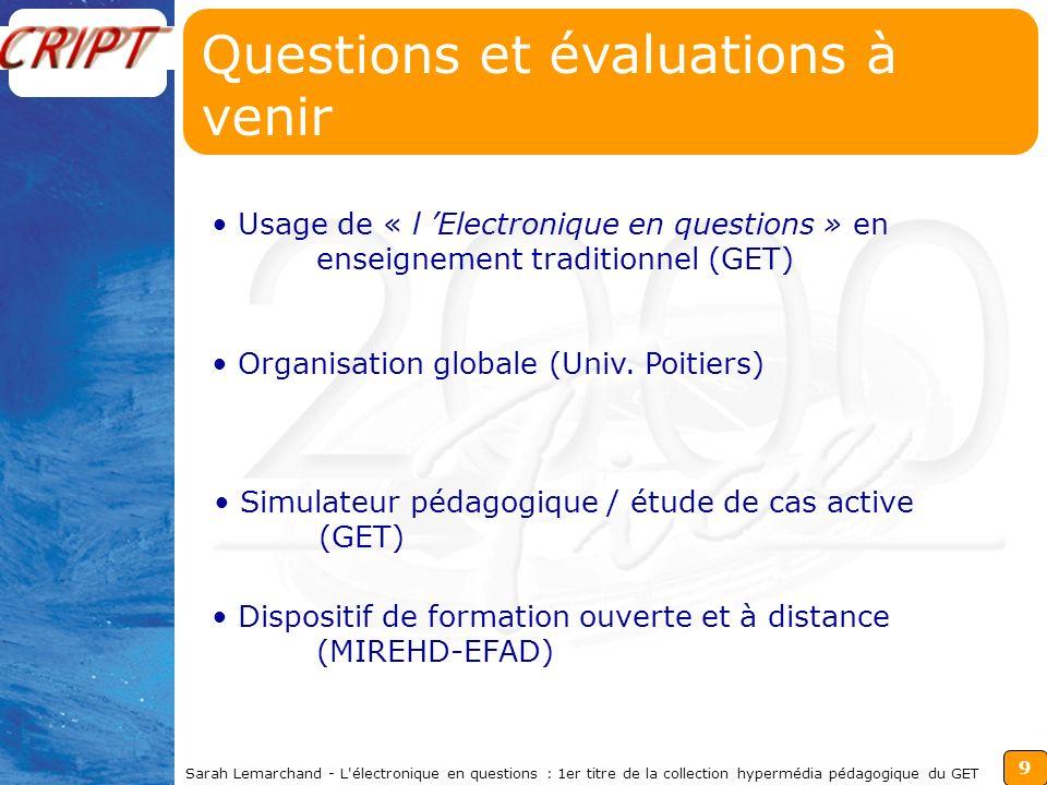 9 Sarah Lemarchand - L électronique en questions : 1er titre de la collection hypermédia pédagogique du GET Questions et évaluations à venir Organisation globale (Univ.