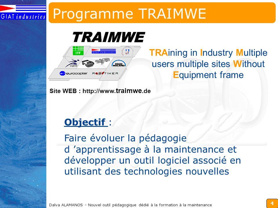 4 Dalva ALAMANOS - Nouvel outil pédagogique dédié à la formation à la maintenance TRAining in Industry Multiple users multiple sites Without Equipment