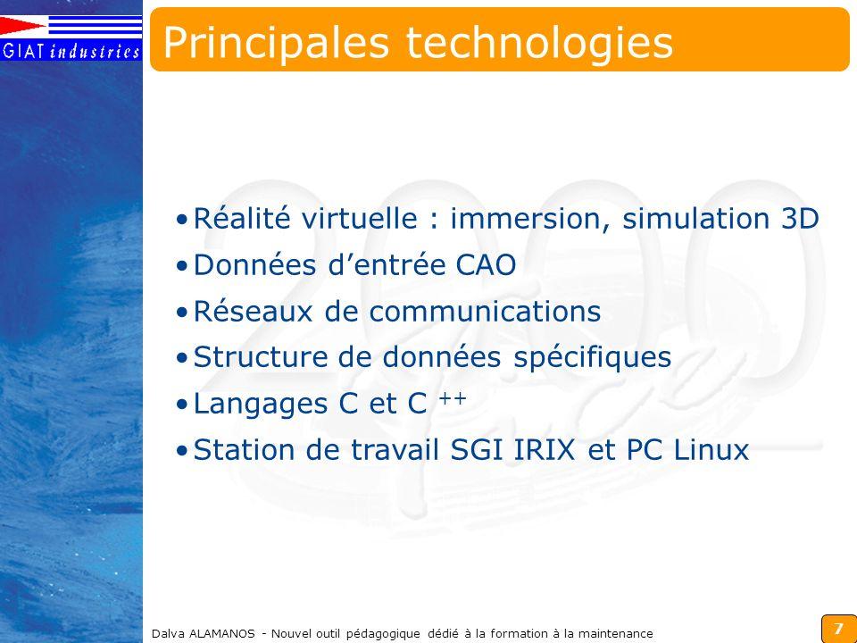 7 Dalva ALAMANOS - Nouvel outil pédagogique dédié à la formation à la maintenance Réalité virtuelle : immersion, simulation 3D Données dentrée CAO Rés