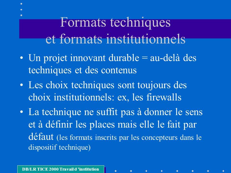 Formats techniques et formats institutionnels Un projet innovant durable = au-delà des techniques et des contenus Les choix techniques sont toujours d