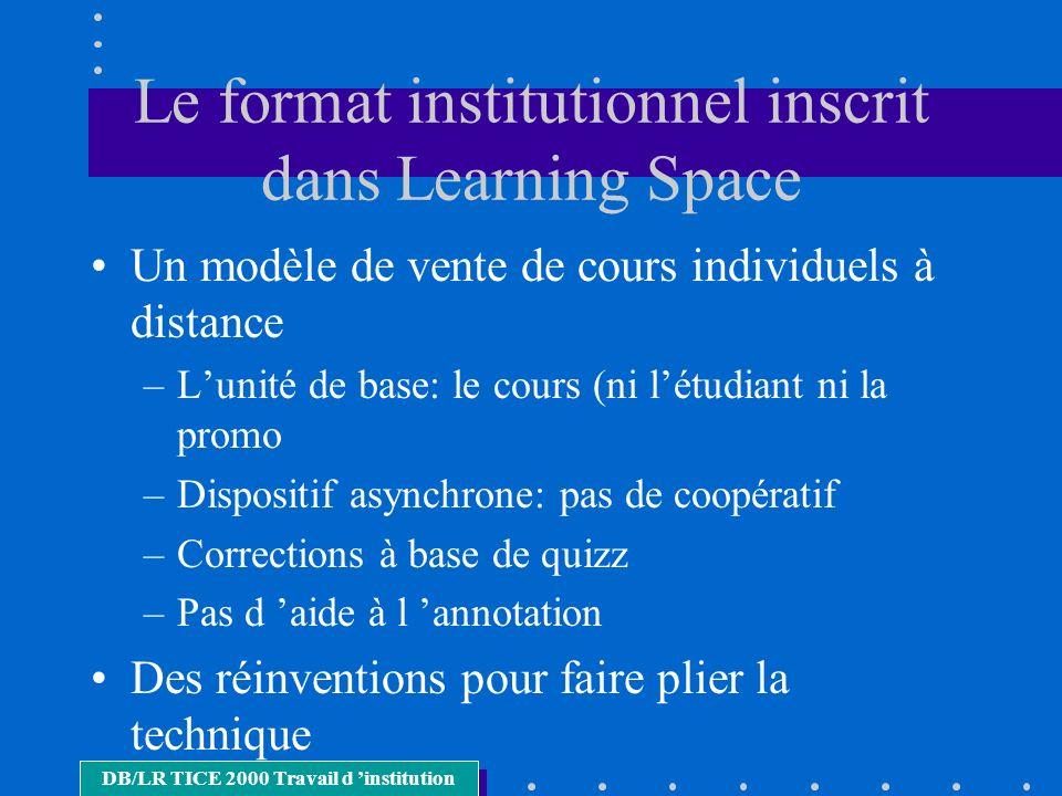 Le format institutionnel inscrit dans Learning Space Un modèle de vente de cours individuels à distance –Lunité de base: le cours (ni létudiant ni la
