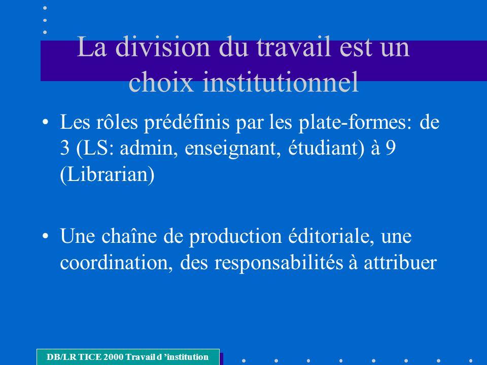 La division du travail est un choix institutionnel Les rôles prédéfinis par les plate-formes: de 3 (LS: admin, enseignant, étudiant) à 9 (Librarian) Une chaîne de production éditoriale, une coordination, des responsabilités à attribuer DB/LR TICE 2000 Travail d institution
