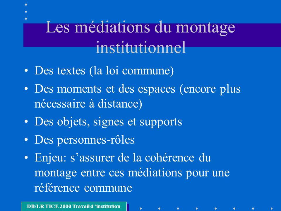 Les médiations du montage institutionnel Des textes (la loi commune) Des moments et des espaces (encore plus nécessaire à distance) Des objets, signes