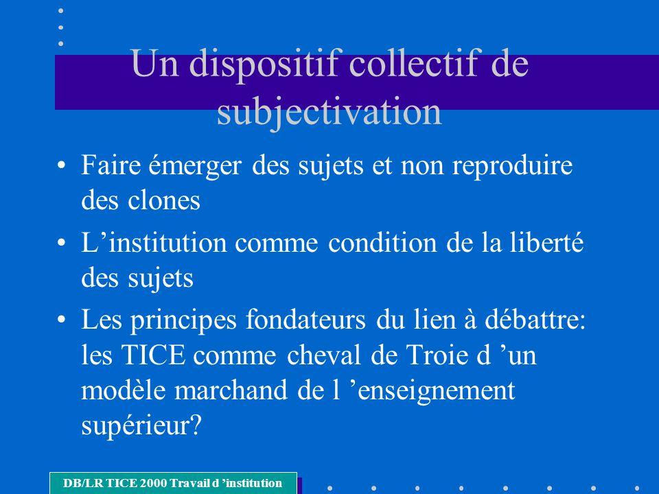 Un dispositif collectif de subjectivation Faire émerger des sujets et non reproduire des clones Linstitution comme condition de la liberté des sujets