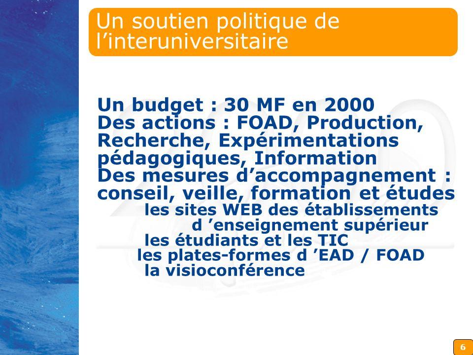 6 Un soutien politique de linteruniversitaire Un budget : 30 MF en 2000 Des actions : FOAD, Production, Recherche, Expérimentations pédagogiques, Info