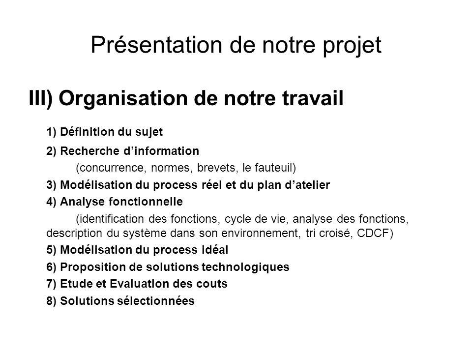 Présentation de notre projet III) Organisation de notre travail 1) Définition du sujet 2) Recherche dinformation (concurrence, normes, brevets, le fau
