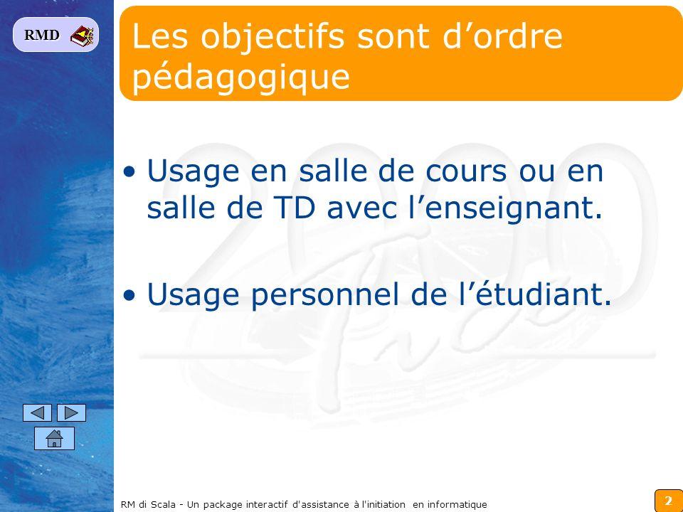 2 RMD RM di Scala - Un package interactif d'assistance à l'initiation en informatique Les objectifs sont dordre pédagogique Usage en salle de cours ou
