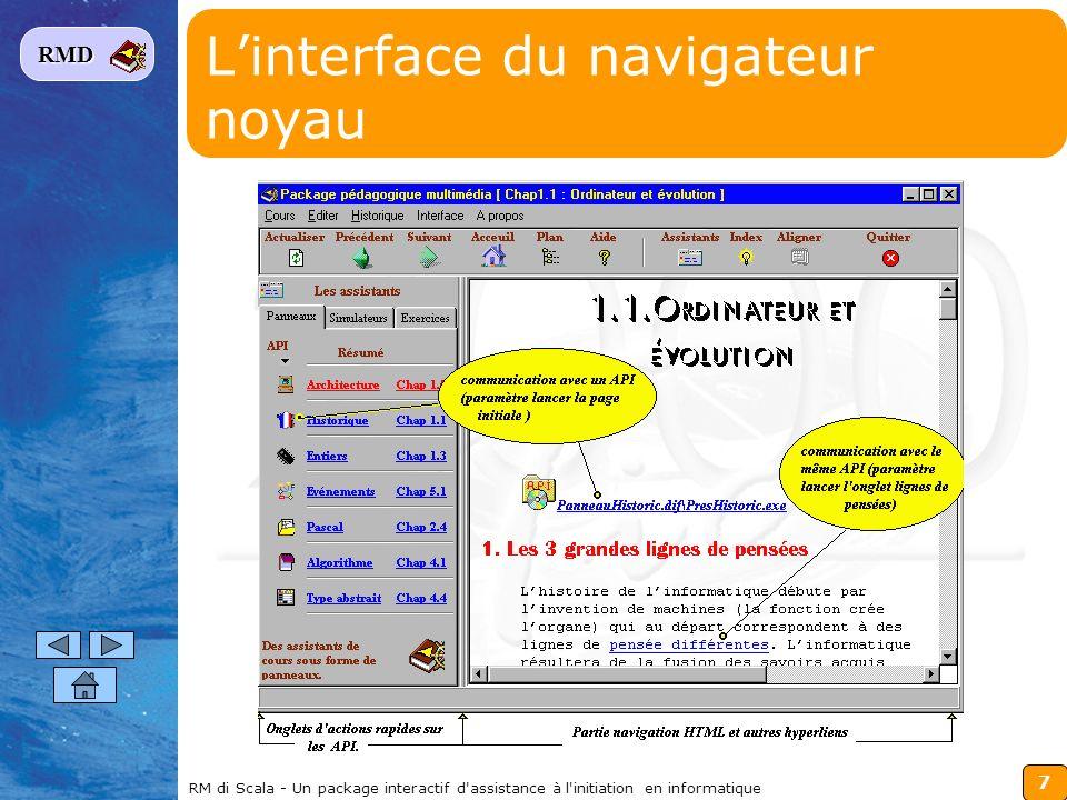 7 RMD RM di Scala - Un package interactif d'assistance à l'initiation en informatique Linterface du navigateur noyau