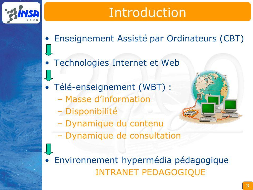 3 Enseignement Assisté par Ordinateurs (CBT) Technologies Internet et Web Télé-enseignement (WBT) : –Masse dinformation –Disponibilité –Dynamique du c