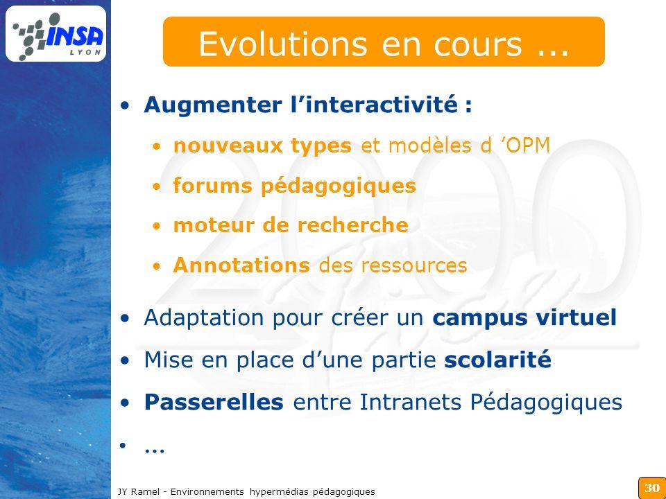30 JY Ramel - Environnements hypermédias pédagogiques Evolutions en cours... Augmenter linteractivité : nouveaux types et modèles d OPM forums pédagog
