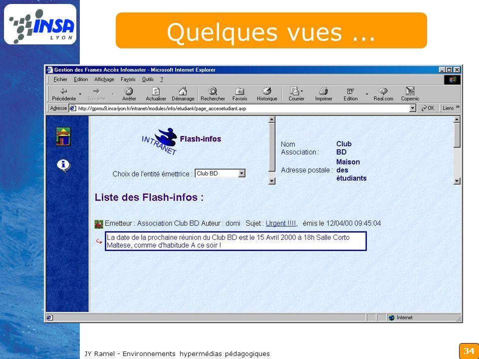 34 JY Ramel - Environnements hypermédias pédagogiques Quelques vues...