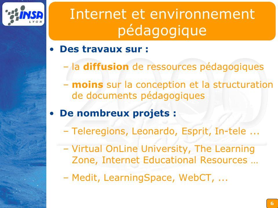 6 Internet et environnement pédagogique Des travaux sur : –la diffusion de ressources pédagogiques –moins sur la conception et la structuration de doc