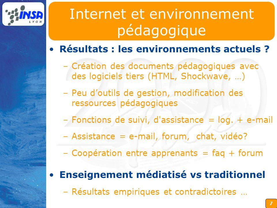 7 Internet et environnement pédagogique Résultats : les environnements actuels ? –Création des documents pédagogiques avec des logiciels tiers (HTML,