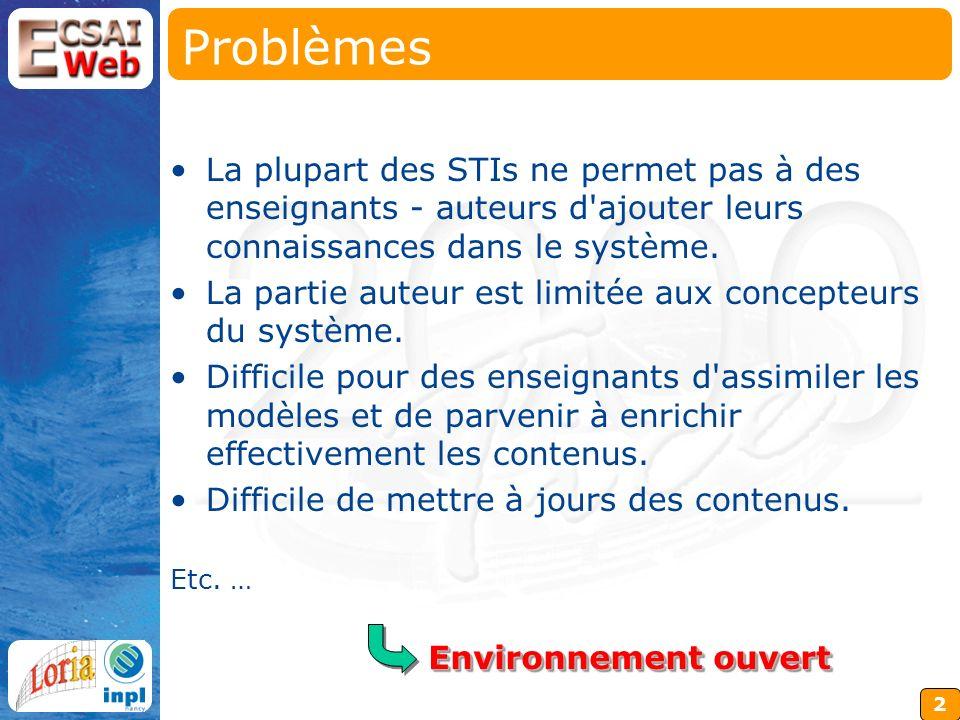 2 Problèmes La plupart des STIs ne permet pas à des enseignants - auteurs d ajouter leurs connaissances dans le système.