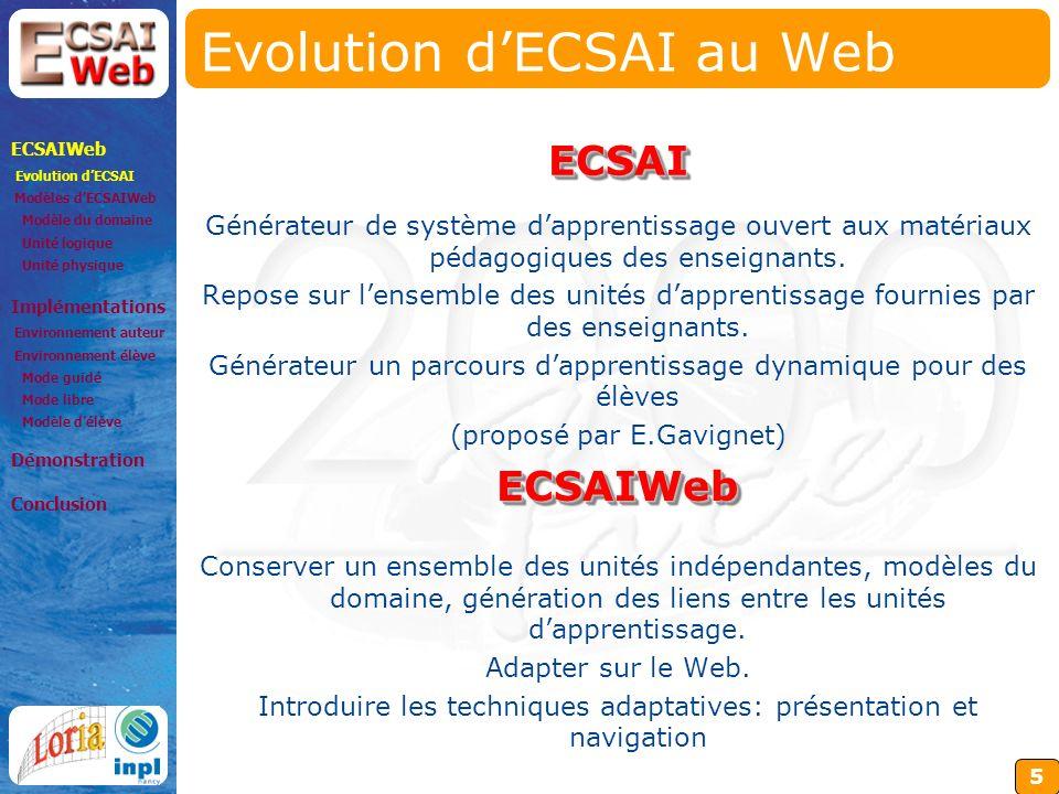 5 Evolution dECSAI au Web Générateur de système dapprentissage ouvert aux matériaux pédagogiques des enseignants.