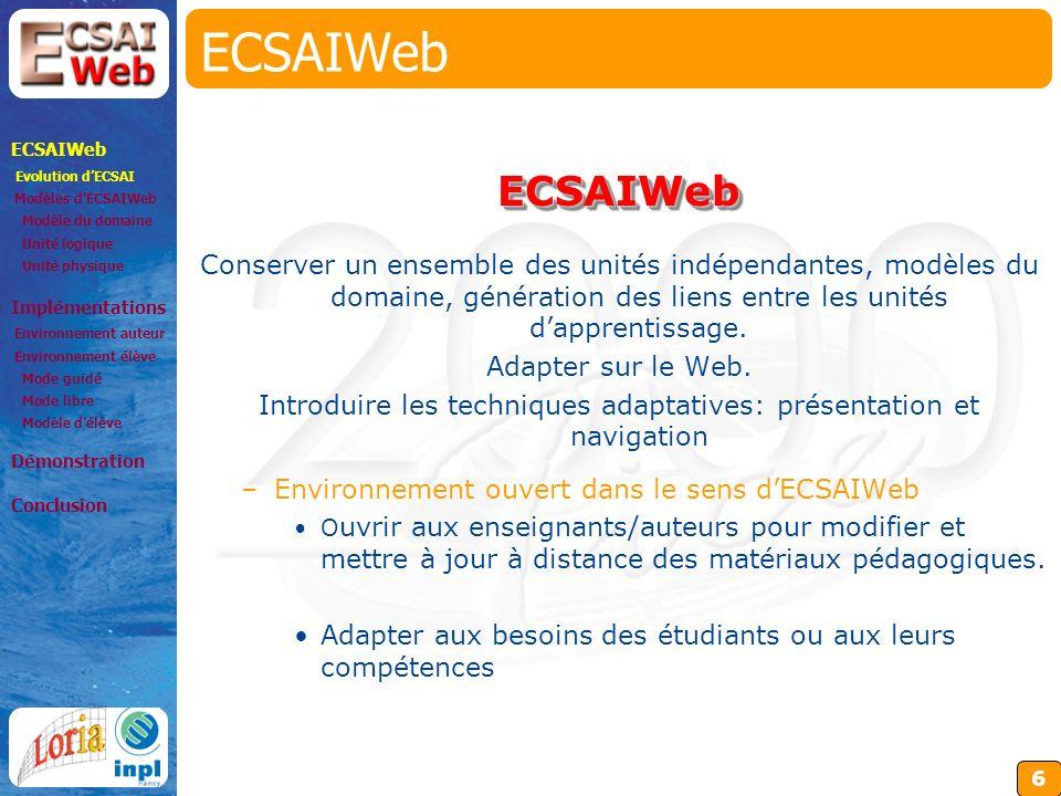 6 ECSAIWeb Conserver un ensemble des unités indépendantes, modèles du domaine, génération des liens entre les unités dapprentissage.