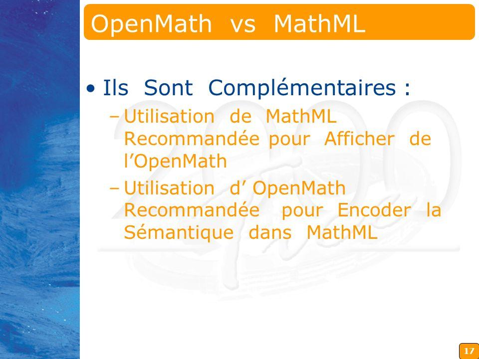 17 OpenMath vs MathML Ils Sont Complémentaires : –Utilisation de MathML Recommandée pour Afficher de lOpenMath –Utilisation d OpenMath Recommandée pour Encoder la Sémantique dans MathML