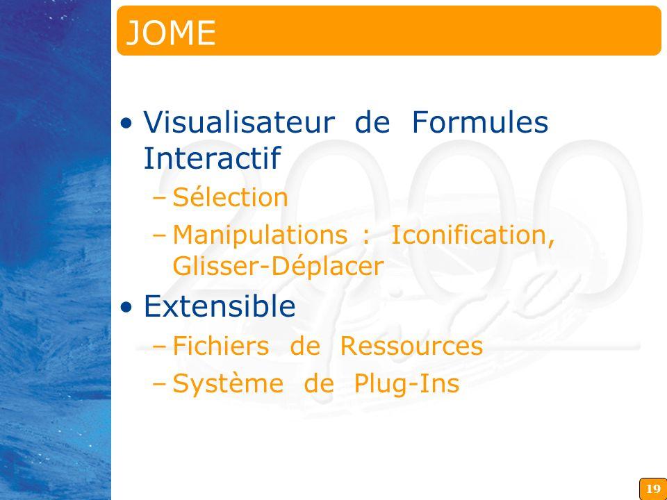 19 JOME Java OpenMath Editor Visualisateur de Formules Interactif –Sélection –Manipulations : Iconification, Glisser-Déplacer Extensible –Fichiers de Ressources –Système de Plug-Ins