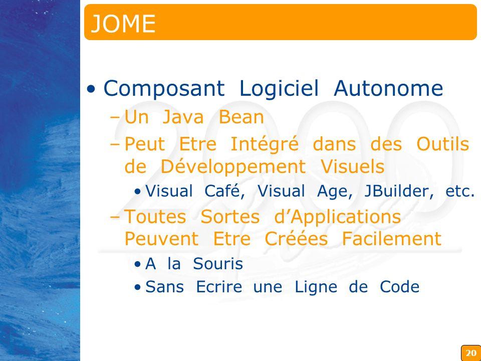 20 JOME Java OpenMath Editor Composant Logiciel Autonome –Un Java Bean –Peut Etre Intégré dans des Outils de Développement Visuels Visual Café, Visual Age, JBuilder, etc.