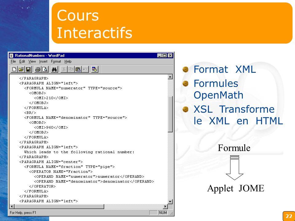 22 Format XML Formules OpenMath XSL Transforme le XML en HTML Formule Applet JOME Cours Interactifs