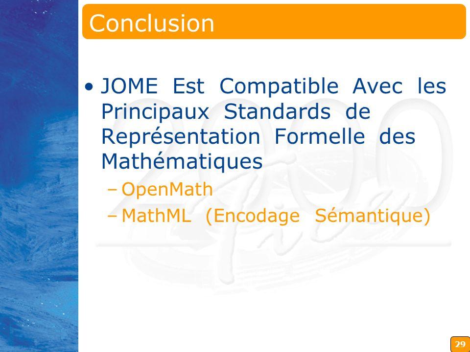29 Conclusion JOME Est Compatible Avec les Principaux Standards de Représentation Formelle des Mathématiques –OpenMath –MathML (Encodage Sémantique)