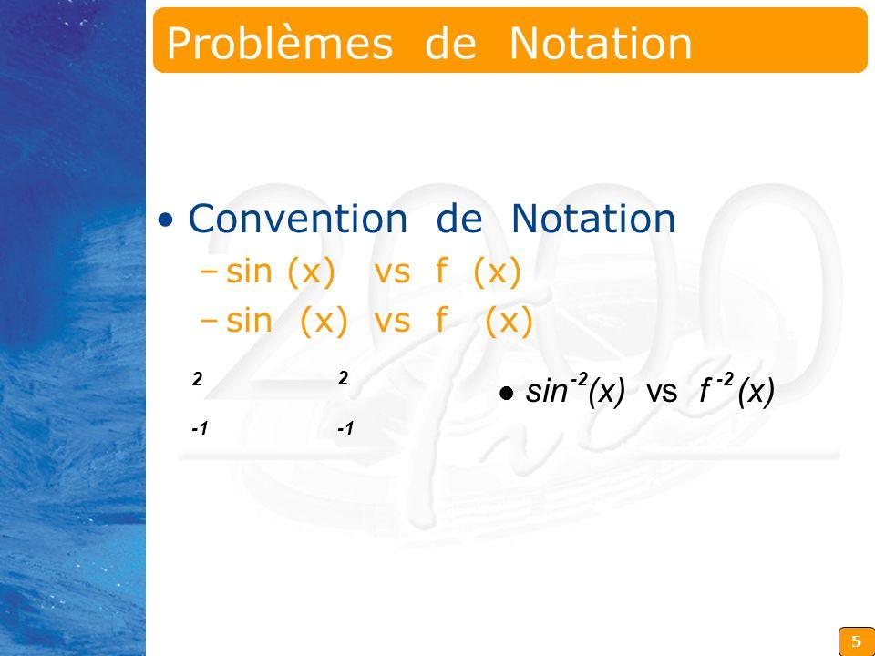 5 2 2 sin (x) vs f (x) -2 Problèmes de Notation Convention de Notation –sin (x) vs f (x)