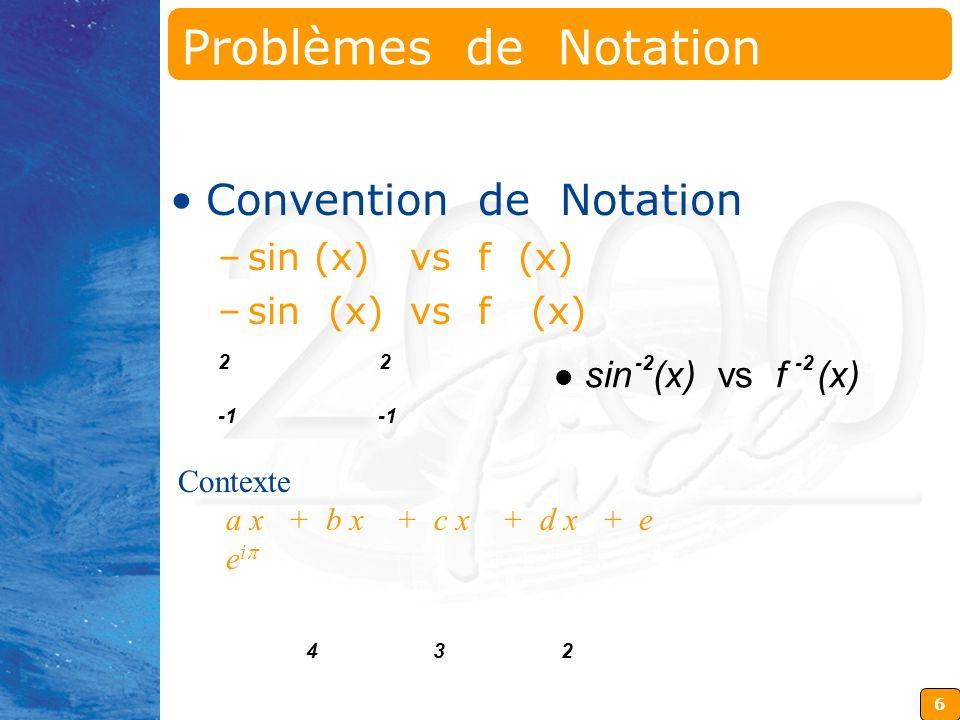 6 Contexte a x + b x + c x + d x + e e i 2 2 432 sin (x) vs f (x) -2 Problèmes de Notation Convention de Notation –sin (x) vs f (x)