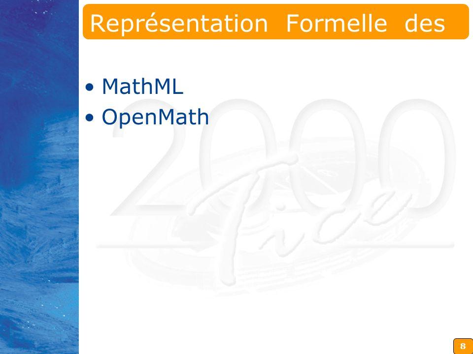 9 MathML Recommandation du World Wide Web Consortium (W3C) Application XML Objectif : Etre aux Mathématiques ce que HTML Est au Texte sur Internet