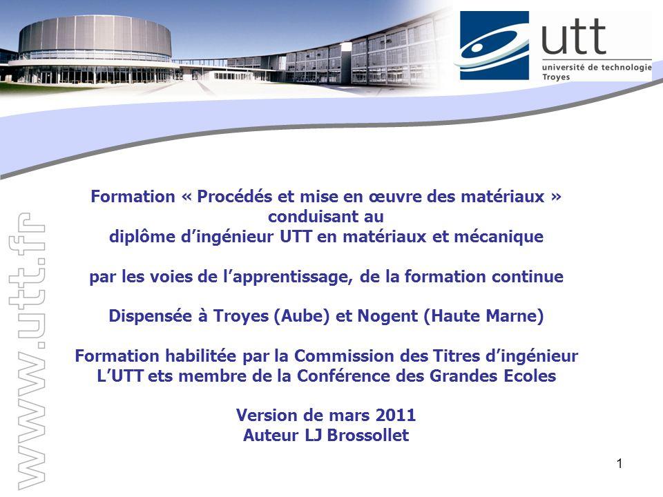 1 Formation « Procédés et mise en œuvre des matériaux » conduisant au diplôme dingénieur UTT en matériaux et mécanique par les voies de lapprentissage