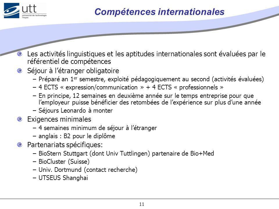 11 Compétences internationales Les activités linguistiques et les aptitudes internationales sont évaluées par le référentiel de compétences Séjour à l