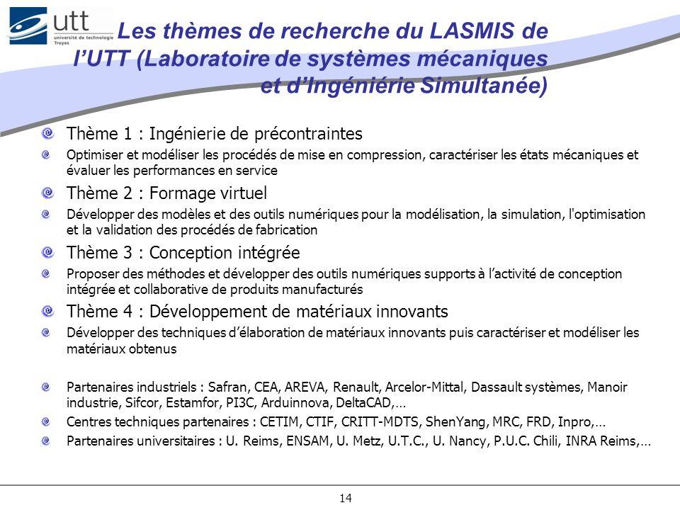 Les thèmes de recherche du LASMIS de lUTT (Laboratoire de systèmes mécaniques et dIngéniérie Simultanée) Thème 1 : Ingénierie de précontraintes Optimi