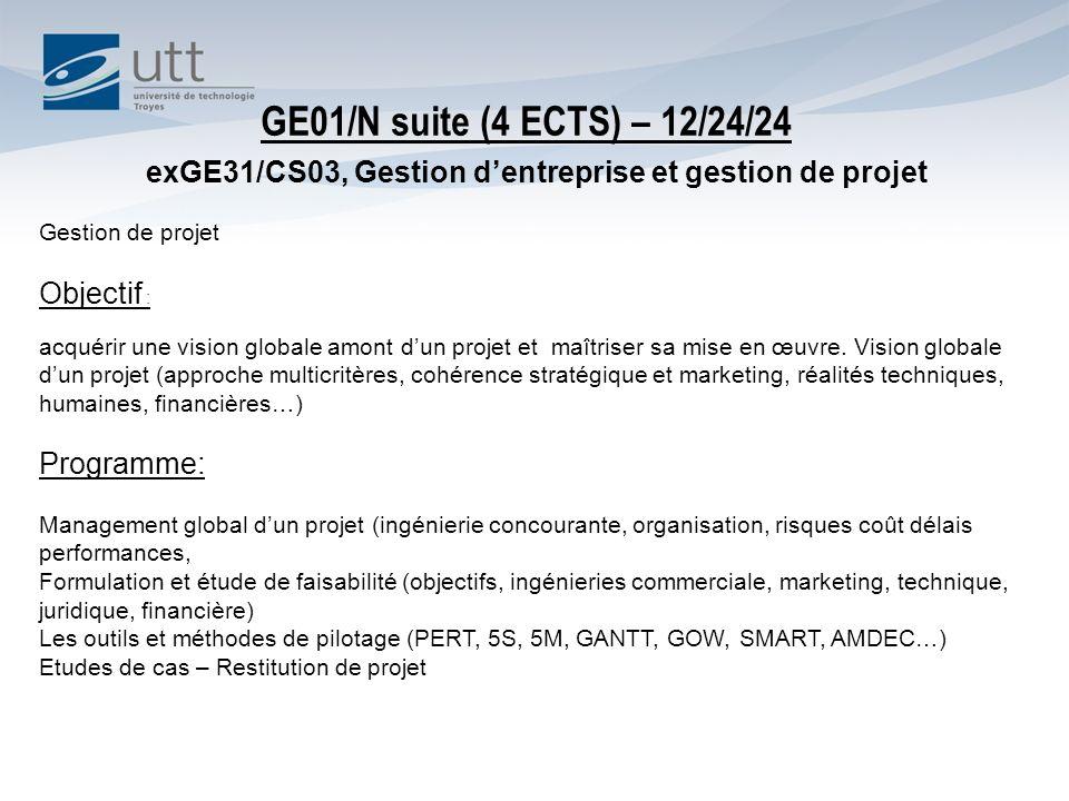 exGE31/CS03, Gestion dentreprise et gestion de projet Gestion de projet Objectif : acquérir une vision globale amont dun projet et maîtriser sa mise en œuvre.