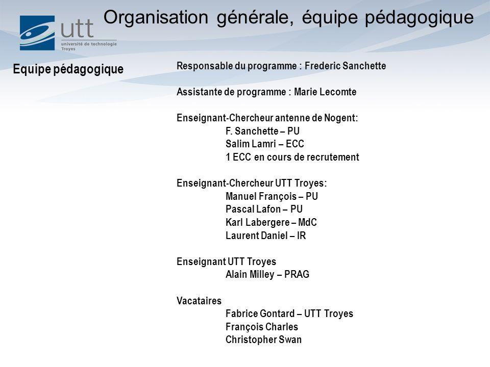 Responsable du programme : Frederic Sanchette Assistante de programme : Marie Lecomte Enseignant-Chercheur antenne de Nogent: F.