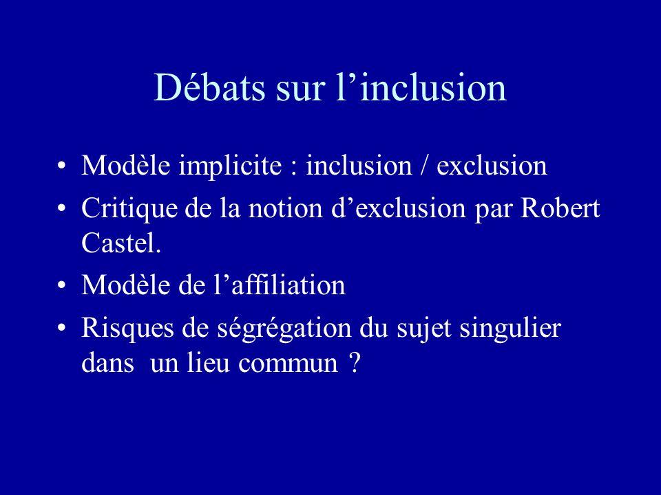Débats sur linclusion Modèle implicite : inclusion / exclusion Critique de la notion dexclusion par Robert Castel.