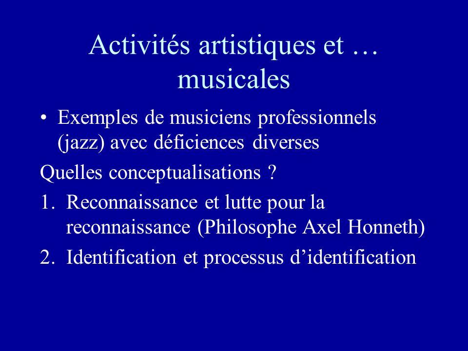 Activités artistiques et … musicales Exemples de musiciens professionnels (jazz) avec déficiences diverses Quelles conceptualisations .