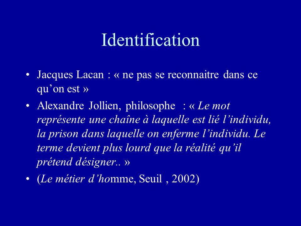 Identification Jacques Lacan : « ne pas se reconnaitre dans ce quon est » Alexandre Jollien, philosophe : « Le mot représente une chaîne à laquelle est lié lindividu, la prison dans laquelle on enferme lindividu.