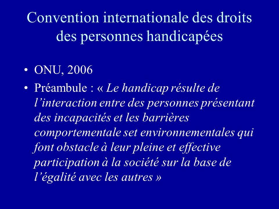 Convention internationale des droits des personnes handicapées ONU, 2006 Préambule : « Le handicap résulte de linteraction entre des personnes présentant des incapacités et les barrières comportementale set environnementales qui font obstacle à leur pleine et effective participation à la société sur la base de légalité avec les autres »