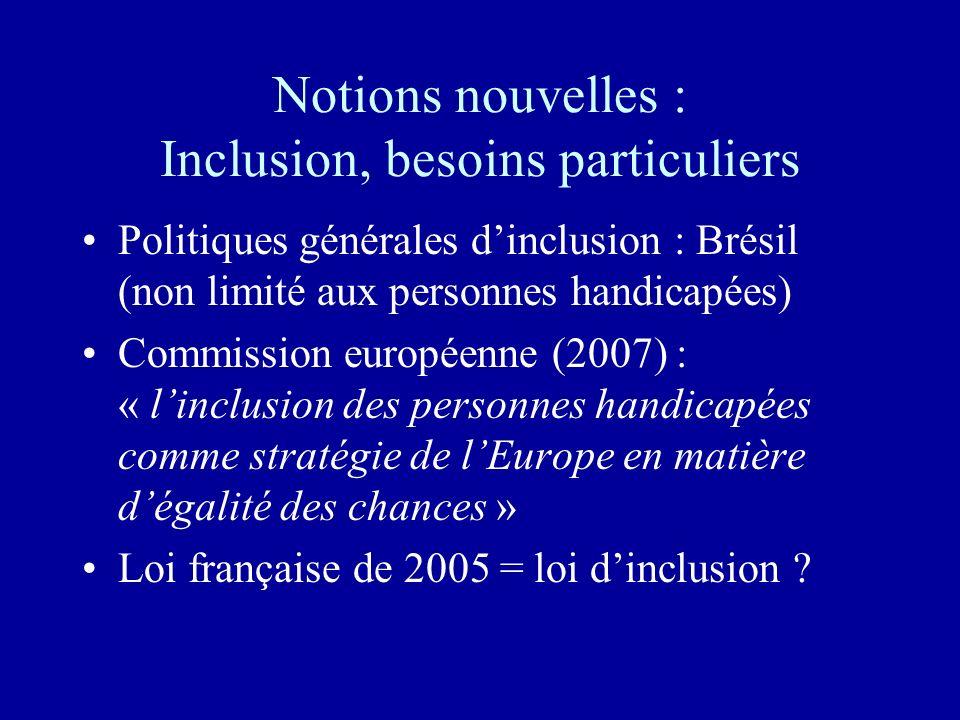 Notions nouvelles : Inclusion, besoins particuliers Politiques générales dinclusion : Brésil (non limité aux personnes handicapées) Commission européenne (2007) : « linclusion des personnes handicapées comme stratégie de lEurope en matière dégalité des chances » Loi française de 2005 = loi dinclusion ?