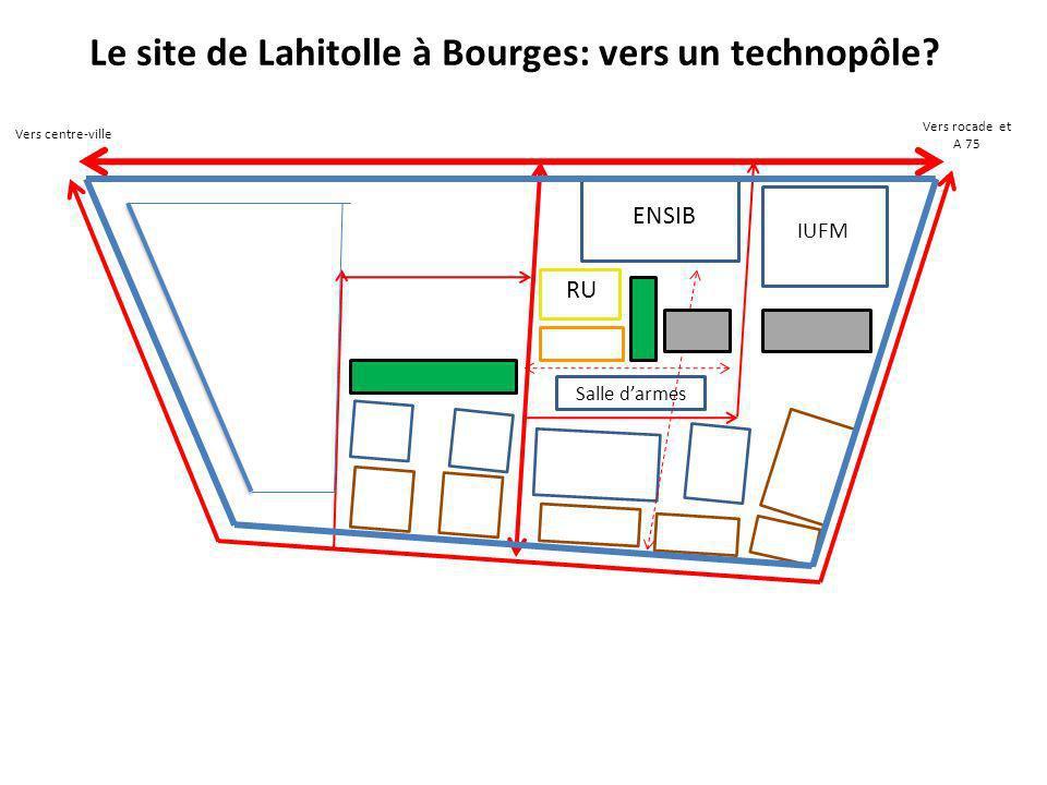 Le site de Lahitolle à Bourges: vers un technopôle? Vers centre-ville Vers rocade et A 75 ENSIB IUFM RU Salle darmes