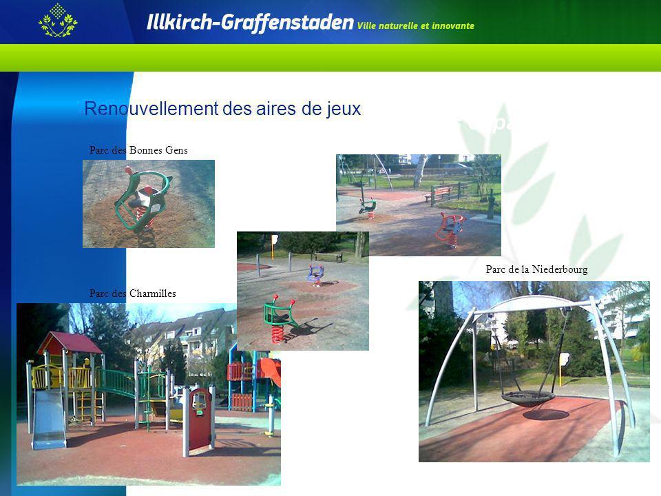 Accessibilité de la voirie et des espaces publics Renouvellement des aires de jeux Parc des Bonnes Gens Parc des Charmilles Parc de la Niederbourg