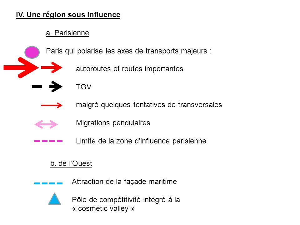 IV. Une région sous influence a. Parisienne Paris qui polarise les axes de transports majeurs : autoroutes et routes importantes TGV malgré quelques t