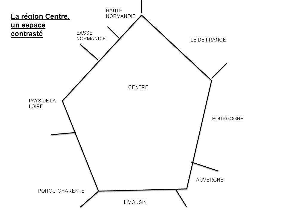 BASSE NORMANDIE HAUTE NORMANDIE PAYS DE LA LOIRE POITOU CHARENTE LIMOUSIN AUVERGNE BOURGOGNE ILE DE FRANCE CENTRE La région Centre, un espace contrast