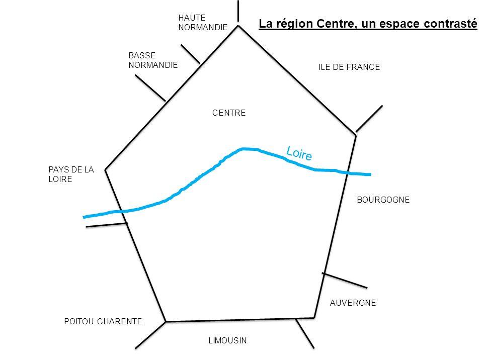 Loire BASSE NORMANDIE HAUTE NORMANDIE PAYS DE LA LOIRE POITOU CHARENTE LIMOUSIN AUVERGNE BOURGOGNE ILE DE FRANCE CENTRE La région Centre, un espace co