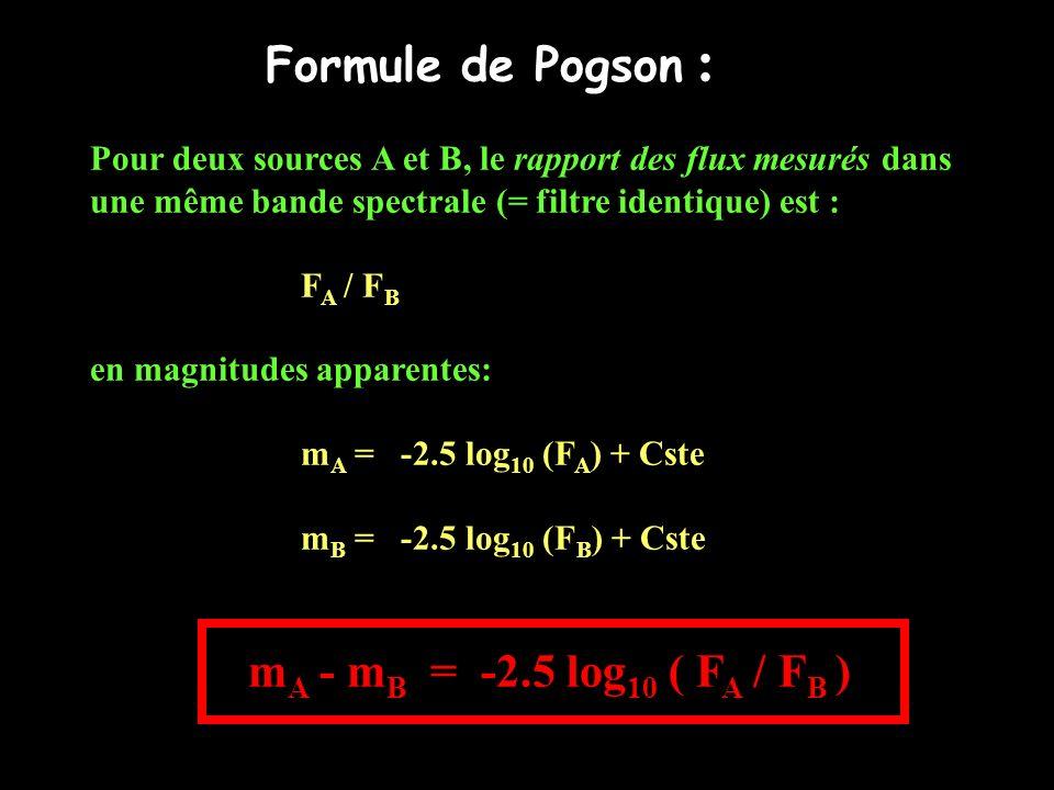 Formule de Pogson : Pour deux sources A et B, le rapport des flux mesurés dans une même bande spectrale (= filtre identique) est : F A / F B en magnit