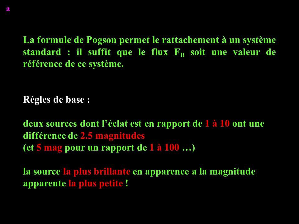 La formule de Pogson permet le rattachement à un système standard : il suffit que le flux F B soit une valeur de référence de ce système. Règles de ba
