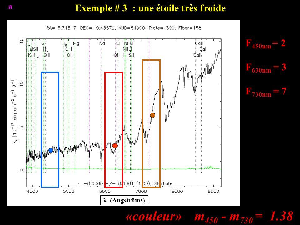 F 450nm = 2 F 630nm = 3 F 730nm = 7 «couleur» m 450 - m 730 = 1.38 Exemple # 3 : une étoile très froide (Angströms) a